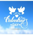 Valentines day lettering blue card vector image vector image