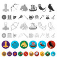 vikings and attributes flat icons in set vector image vector image