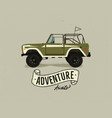 vintage hand drawn surfing car retro vector image