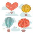 vintage hot air balloon festival card set air vector image