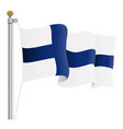 waving finland flag isolated on a white background vector image vector image