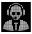 white halftone support manager icon vector image