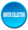 winter collection blue round flat isolated push vector image vector image