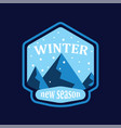 winter mountain and snowfall in round on blue vector image vector image