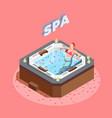 woman in bath with rose petals vector image vector image