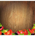 Wood Background With Vegetables vector image vector image