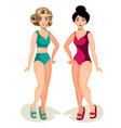 cute girls in swimsuit vector image