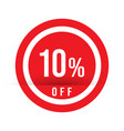 10 percent off - red sale stamp - special offer vector image vector image