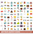 100 tour agency icons set flat style vector image vector image