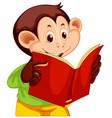a monkey reading a book vector image vector image