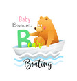abc for kids funny baby bear for letter b vector image