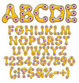 alphabet numbers and signs orange slime vector image vector image