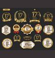 anniversary golden laurel wreath and badges 17 vector image vector image