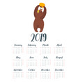brown bear grizzly calendar vector image vector image