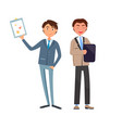 business man showing paper strategy on clipboard vector image vector image