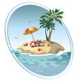 cartoon island in sea with luggage vector image vector image