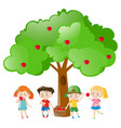 children picking out apples on the tree vector image