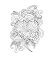 Coloring page with heart and abstract element vector image vector image