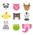 cute cartoon animals head round shape in flat vector image vector image