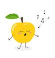 cute cartoon apple singer vector image vector image