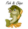 cute cartoon fish and chips vector image vector image