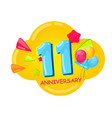 cute cartoon template 11 years anniversary vector image