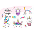 cute unicorn with cupcake dancing little vector image vector image
