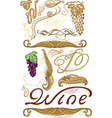 Decorated set for wine label vector image vector image