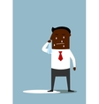 Depressed cartoon black businessman crying vector image