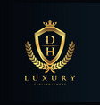dh letter initial with royal luxury logo template vector image vector image