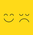 faces with happy smile and sad unhappy smiley vector image
