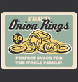 fried crispy onion rings fast food vector image