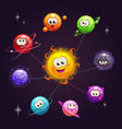 funny cartoon fantasy solar system with colorful vector image vector image