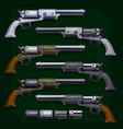 graphic detailed old revolvers big set vector image vector image