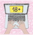 graphic of child hands on laptop vector image