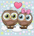 greeting card with two cute cartoon owls vector image vector image