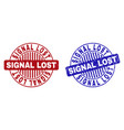 grunge signal lost textured round stamps vector image vector image
