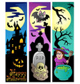 halloween banners set 6 vector image