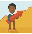 Happy black guy holding arrow up sign vector image vector image