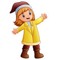happy girl in yellow winter clothes vector image vector image