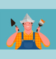 happy worker holding building tools finishing vector image