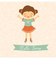 Hello spring card with cute little girl vector image vector image