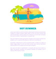 hot summer web poster tropical beach and woman vector image vector image