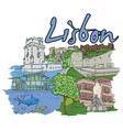 lisbon doodles vector image vector image