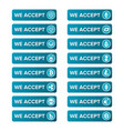 main crypto currency types payment buttons set on vector image
