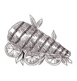 meat top view frame engraved design fish on vector image
