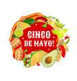 mexican food drink maracas cinco de mayo party vector image vector image