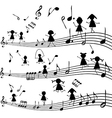 Music note with stylized kids silhouettes vector image vector image