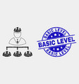 pixel engineer hierarchy icon and scratched vector image vector image