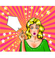 pop art wonder girl holding price tag vector image vector image